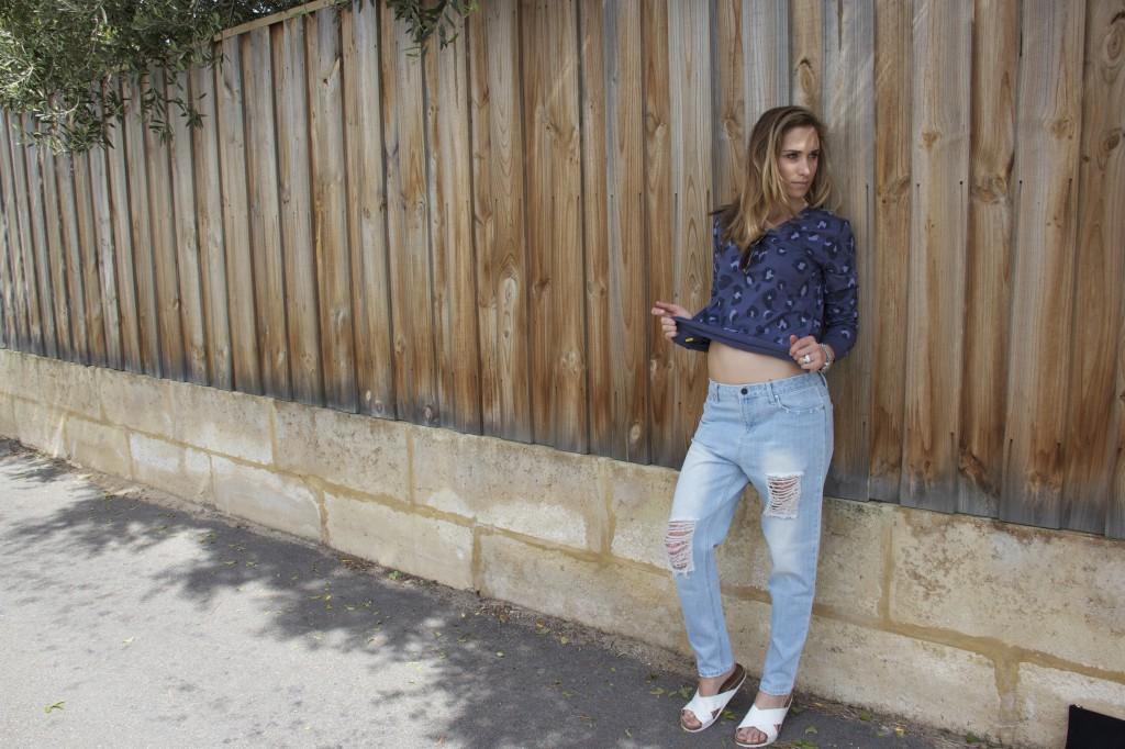 Zoe Karssen leopard t shirt, First base low slung jean